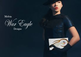 Melvin war eagle native american  fashion designer clutch at redbubble