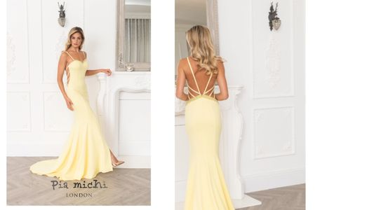 Pia Michi London lemon evening gown