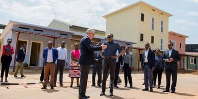 President Paul Kagame and Eckardt Dauck at Zero Carbon Designs ZCD Fonerwa Project Strawtec