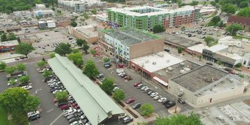 Aerial Photo of the new Edison District in downtown Overland Park, Kansas. Area Real Estate Advisors