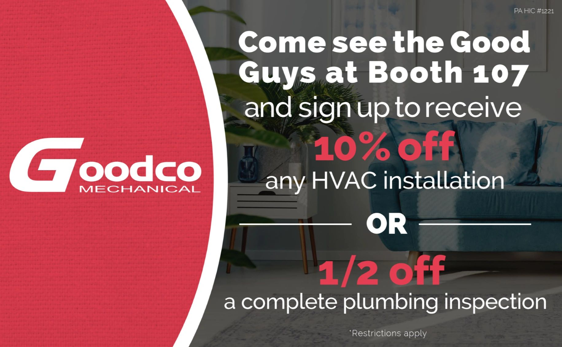 Goodco advertisment for 10 % off any HVAC service or 1/2 off Plumbing  inspection.