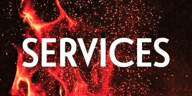 "Orange Flame Image. Text Reads ""Services""."