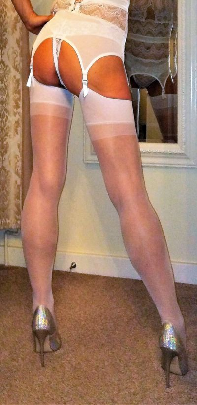 Cute arse suspenders stockings heels