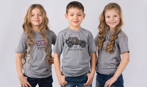 Kids wearing 2 Dogs and a Bicycle t-shirt designs.