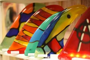 Rainbow Fin custom 1 of a kind stained glass fins.  always made in the USA