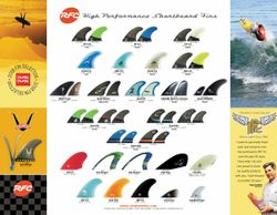 Rainbow fin shortboard brochure sheet of fins quad, tri, twin, fish, trailers