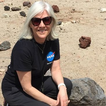 Beth Beck, PhD, in Mars Yard at NASA's Jet Propulsion Laboratory