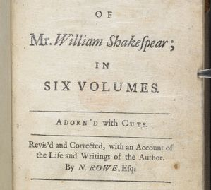 title page of Rowe, 1709, British Library