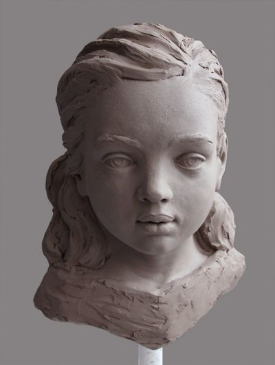 child portrait, sculpture, clay, figurative art, contemporary art, fine art, Denisa Prochazka artist