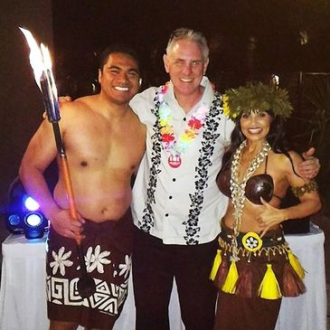 DJ Tony with Hawaiian Luau Dancer Lana and Fire eater.