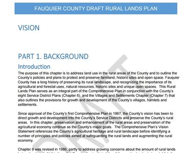 38 page pdf of Fauquier County's Rural Lands Plan Draft dated December 2018