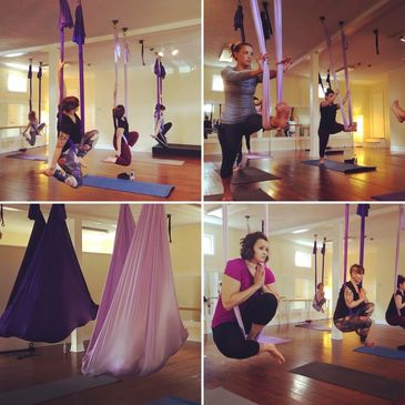 We offer Aerial Yoga classes, for beginners to advanced.  Looking for something fun to do in Pittsburgh!  You can book a private aerial yoga party for fun girls night out or bachelorette parties at Elevate Yoga Pittsburgh (formerly Movement Studio Pittsburgh).
