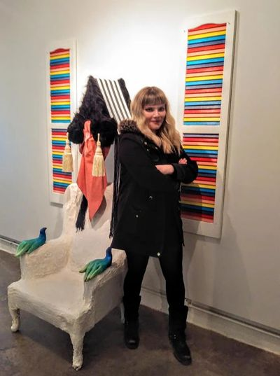 Fall 2019 Intern Artist Veronika McGinnis in front of her work at the NE Sculpture | Gallery Factory