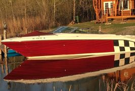 Full restoration job to brighten up old oxidized gel coat and get this Searay looking like new!