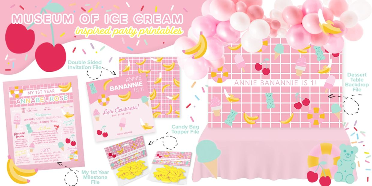 Museum of Ice Cream Party Printable Invitations, Ice Cream Dessert Table, Ice Cream Backdrop