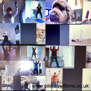Some of my peeps and their pets as well enjoying with Pilates virtually