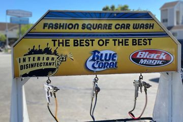 Fashion Square Car Wash Best of the Best interior disinfectant, Blue coral wax, black Magic Tire Shi