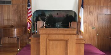 Pulpit at First Baptist Church of Roxana
