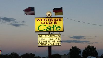 West Side Lilo's Cafe and Restaurant in Seligman, Arizona Route 66. Authentic German American food.