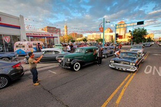 Downtown Albuquerque, New Mexico hosting numerous car shows with Low Riders on Route 66.