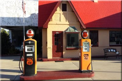 Old gas station in Baxter Springs, Kansas that is the towns tourist and visitors center.
