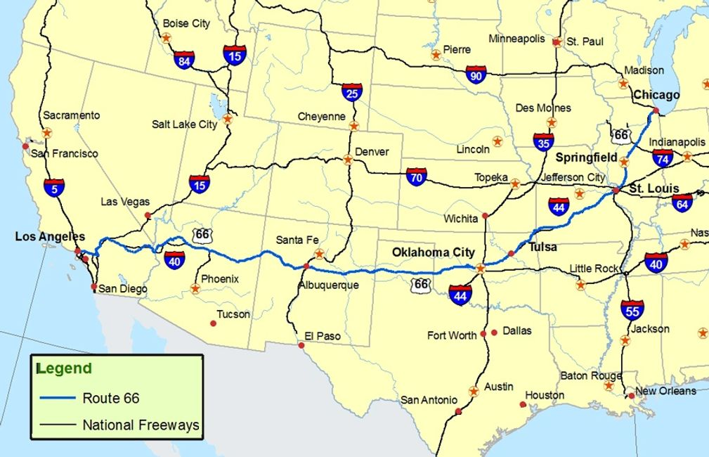 Route 66 Map to include National Freeways