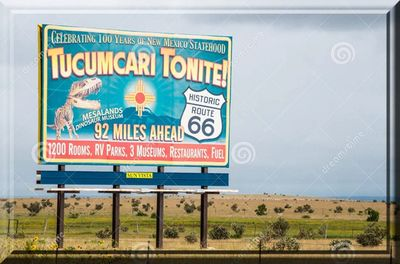 Tucumcari New Mexico Billboard advertising travel destination on Route 66