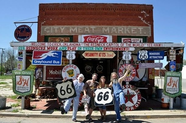 Route 66 Oklahoma scent in a small Route 66 town of Erik Oklahoma. Historic Route 66,