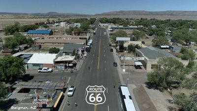 An aerial view of main street America - historic Route 66 Seligman, Arizona.