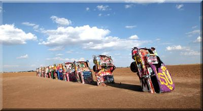 Cadillac Ranch in Amarillo, Texas is a photographers canvas and a unique tourist attraction.