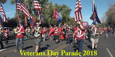 Veterans Day Parade in Phoenix Arizona thanking military veterans.