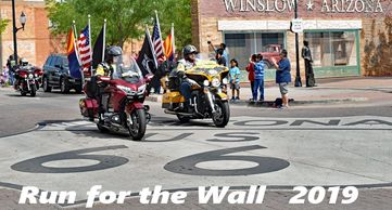 Run For the Wall in Arizona. Central Route on Route 66 in Arizona