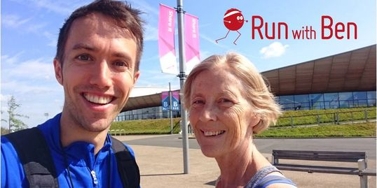 Run with Ben running coaching - Ben with a runner in the Olympic Park, London