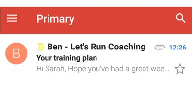 Let's Run Coaching - online coaching - inbox email screenshot