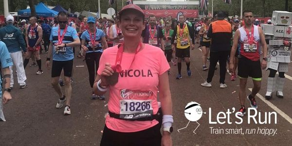 Let's Run Coaching - Nicola with her medal after the London Marathon
