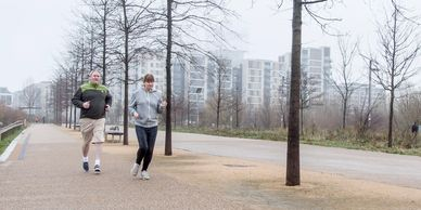 Run with Ben running coaching - marathon training plans - two runners in the Olympic Park, London