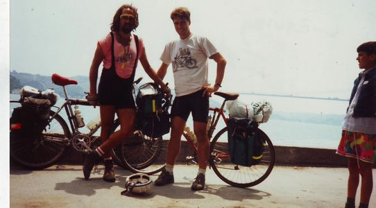 Me and my funny buddy, John Bishop, 25 years ago heading to Bulgaria from Turkey.