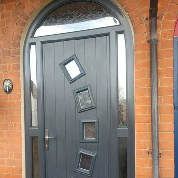 Solid Core Composite door with an Arched frame in Anthracite Grey from our contemporary range.