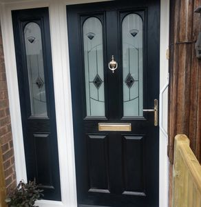 Black Solid Core Door with Murano Black Glas & a Matching Composite Side Panel Fitted in Mansfield.