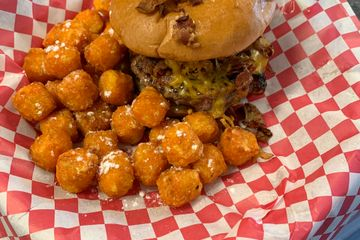 Da Bacon Bomb with Sweet potato tater tots