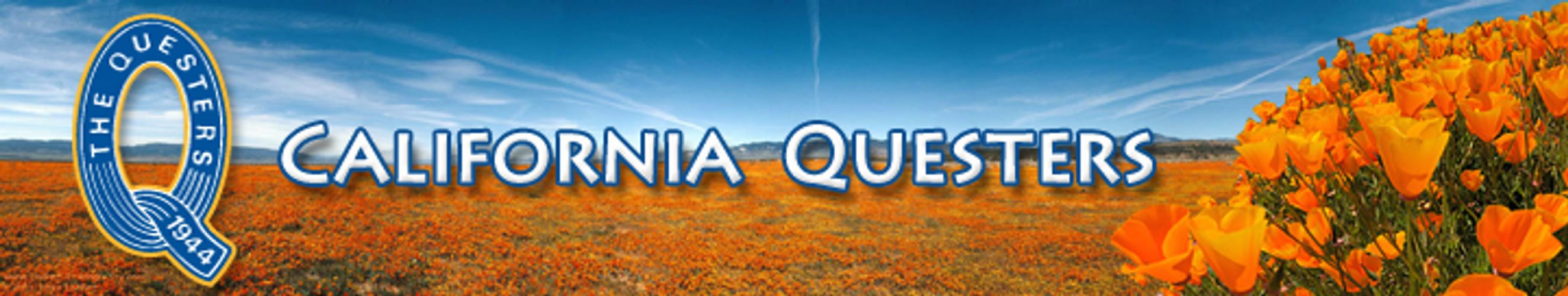 California Questers banner with logo and photo of poppies