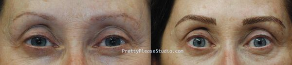 Permanent makeup, eyebrow tattoo.  Feathering eyebrows, 3D brows.  Microblading