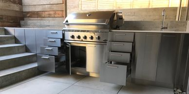 sterling stainless, stainless cabinet, stainless steel cabinet, outdoor kitchen, bbq kitchen