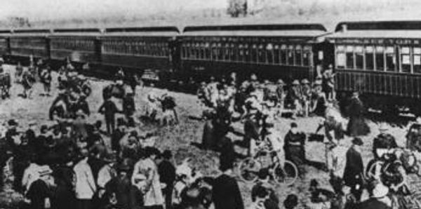 The 14th Regiment boarding a Long Island Rail Road train.