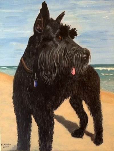 pet portrait painted fro owners photograph
