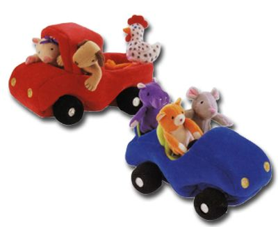 Soft Car and Plush truck with finger puppets