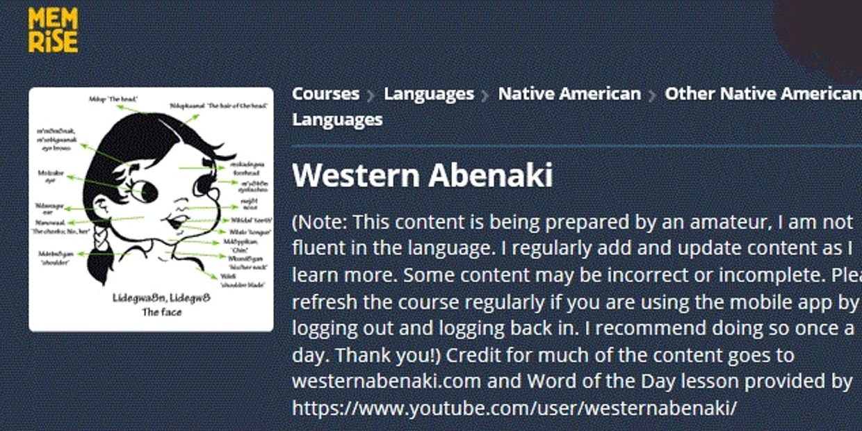 Image showing the home page for the Western Abenaki course on Memrise.