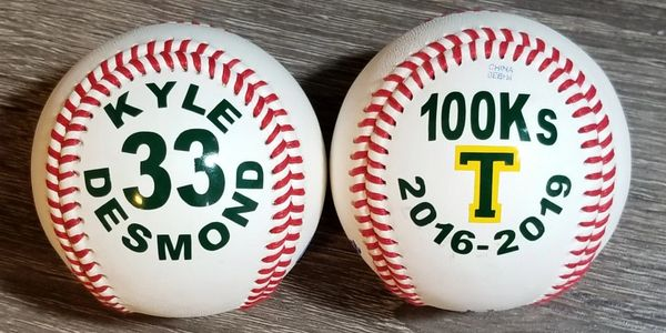 Custom baseball for Tacony Academy Charter.  Pitcher Kyle Desmond had a career 100 strike outs