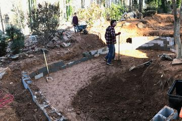 pond, pond demo, pond build, koi pond, pond construction, pond design