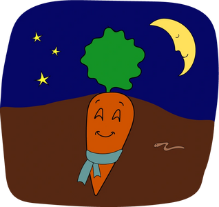 cartoon of carrot happily sleeping underground with a scarf around its neck,  night sky with moon